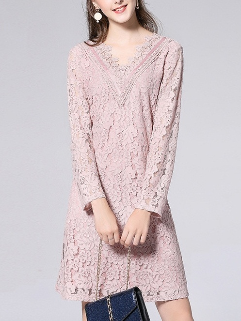 Kahnay V-neck Pink Lace Dress