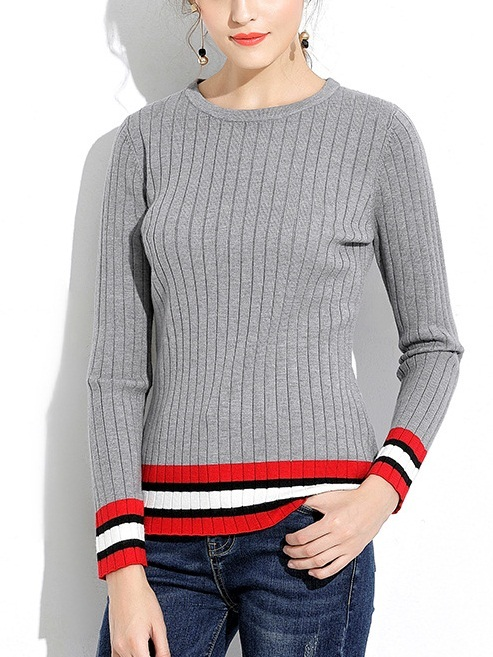 Kaiala Knit Grey Stripe Sweater Top