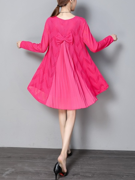 (Bust 95-120 CM) Karie Bow Back Pleat Dress (Pink)