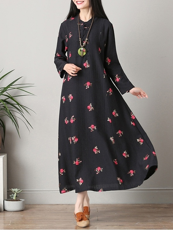 (Bust 98-110 CM) Karime Embroidered Qipao Midi-Maxi Dress (Black)
