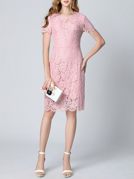 (Ready Stock 4XL *1) Atalie Pink Lace Midi Dress