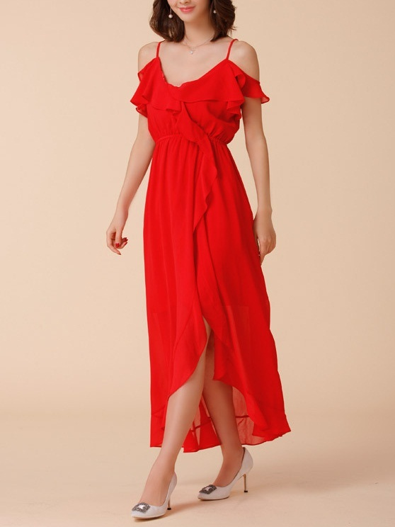 Karley Off Shoulder Maxi Dress (Red)