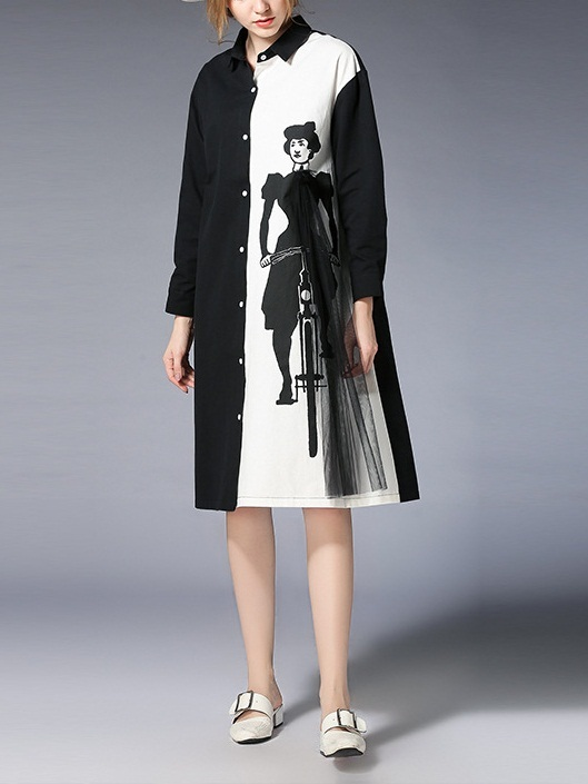 Karah Monochrome Shirt Dress