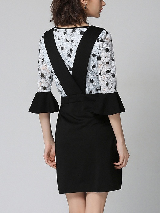 [SET] Katalyn Flora Flare Sleeve Top + Pinafore Skirt 2 Piece Set