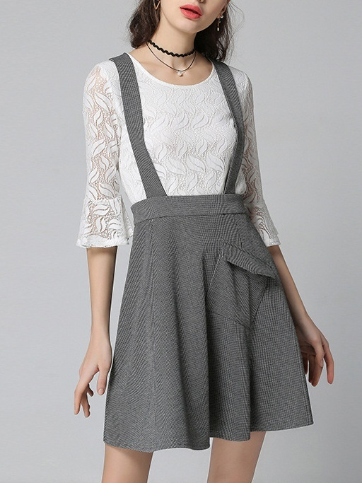 [SET] Kataryna Lace Bell Sleeve Blouse and Swing Pinafore Skirt Set