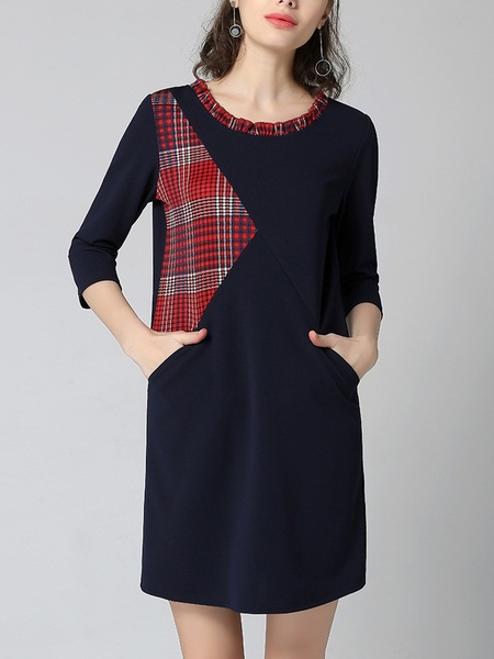 Katelynn Plaid Insert Shift Dress
