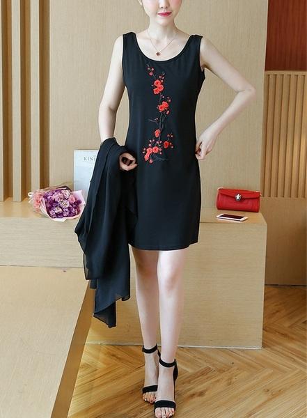 (Bust 96-131 CM) [SET] Katinka Blossoms Dress and Jacket Set -
