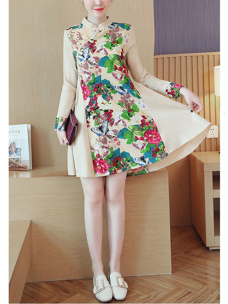 (Bust 92-110 CM) Katla Floral Panel Qipao L/s Dress
