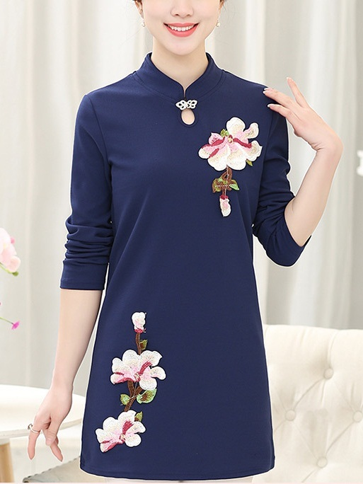 (Bust 97-112 CM) Katrice Flora Embroidered Qipao L/s Top --