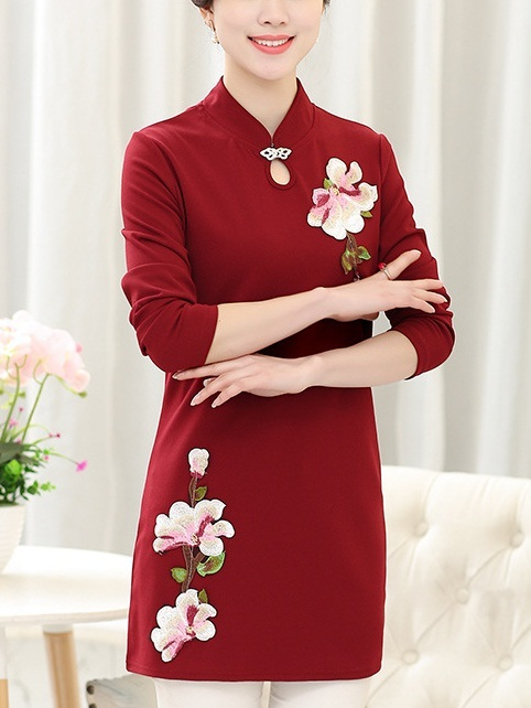 (Bust 97-112 CM) Katrice Flora Embroidered Qipao L/s Top ---