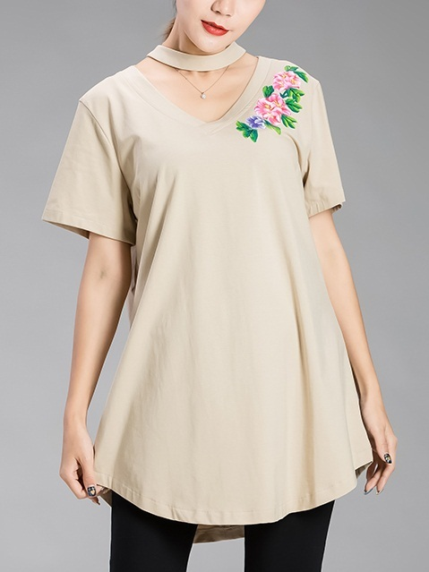 (Bust 100-140 CM) Kattie Necklace Flora Top (EXTRA BIG SIZE)