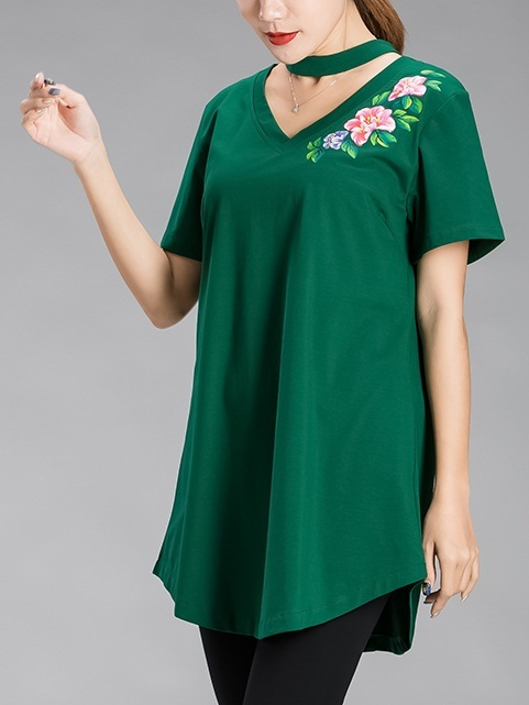 (Bust 100-140 CM) Kattie Necklace Flora Top (EXTRA BIG SIZE) --