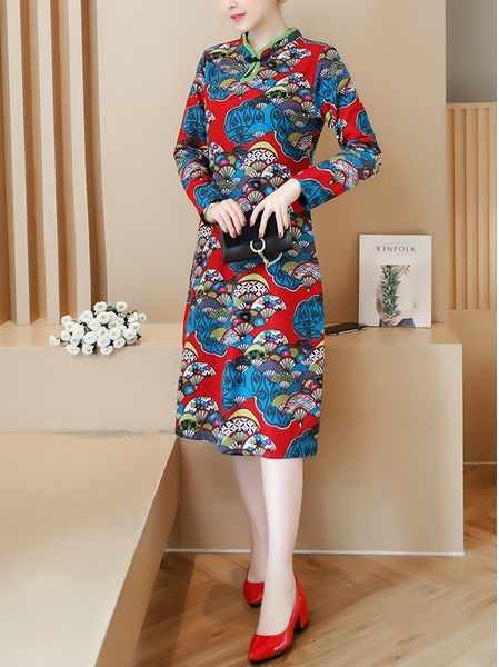 (Bust 95-120 CM) Oldenne Green Trim Midi Qipao Dress