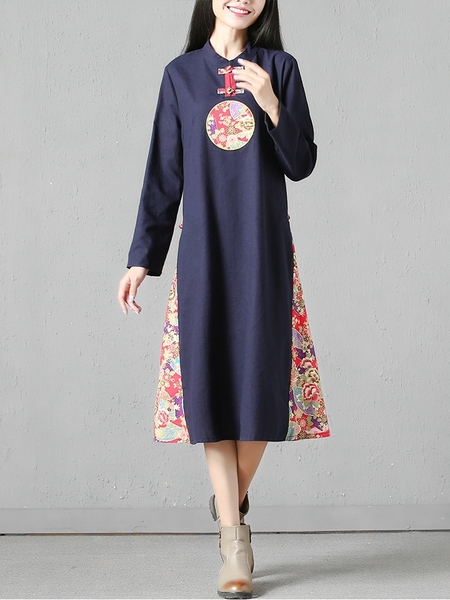 (Bust 98-110 CM) Shelra Midi Qipao Dress