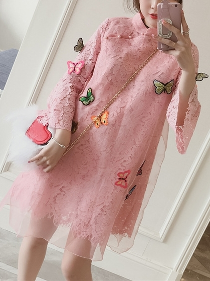 (Bust 102-126 CM) Lualee Butterfly Appliqué Lace Qipao Dress