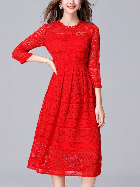 Kaye Red Midi Lace Dress