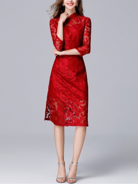 Kayden Filgree Midi Qipao Dress