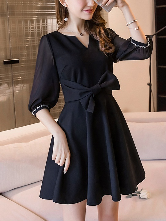 Kelendria Embellished Sleeve Black Dress