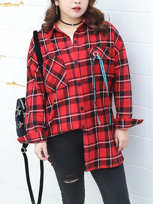 Kennadie Red Checks Shirt