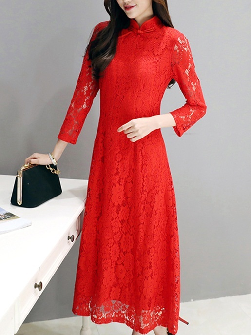 (Ready Stock 4XL *1) (Bust 100-120 CM) Karanne Red Long Qipao Dress