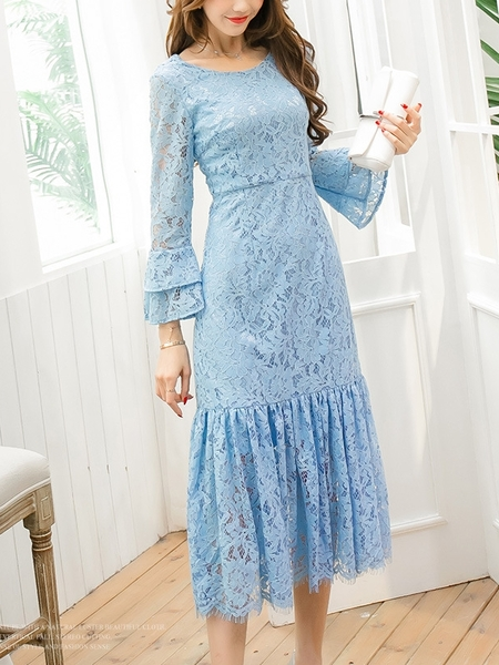 (Ready Stock Blue 3XL *1) Lessa Lace Bell Sleeve Midi Dress