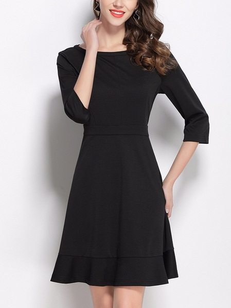 Kesslee Boatneck Mermaid Black Dress