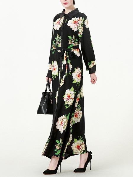 (M-7XL) Kiko Floral Maxi Shirt Dress