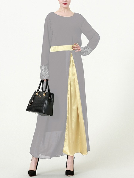 (L-7XL) Kim Kima Gold Satin Trim Maxi Dress (3 Colours)
