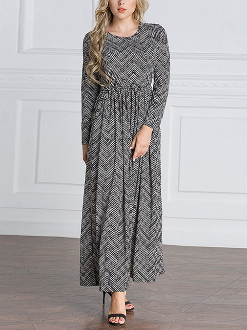(S-6XL) Kimberlee Monochrome Wave Maxi Dress