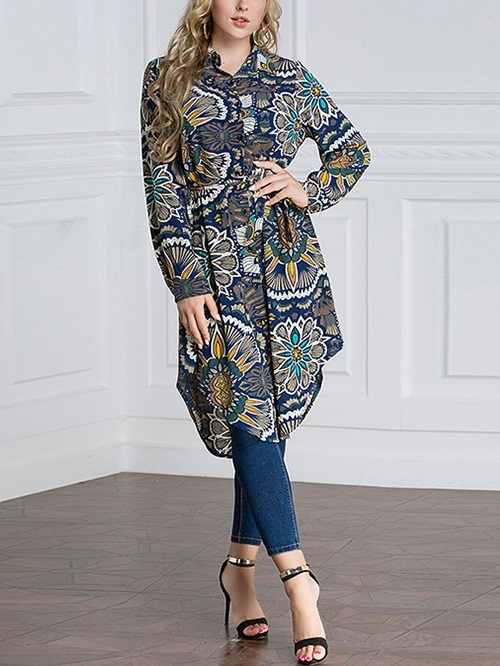 (M-7XL) Kimberlin Printed Tunic Shirt