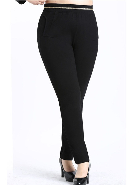 Kinley Gold Skinny Black Pants (EXTRA BIG SIZE)