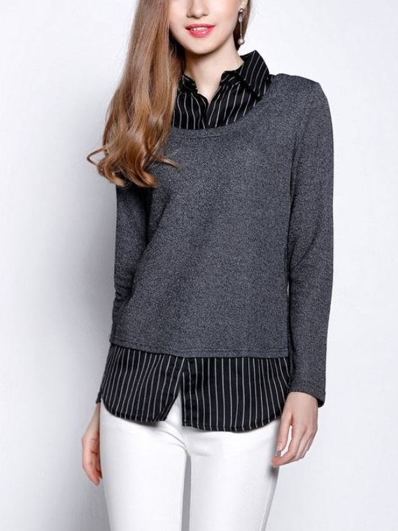 Korbyn Knit Layer Shirt Blouse (EXTRA BIG SIZE)