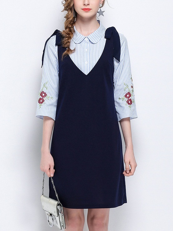 Kortni Embroidered Shirt + Ribbon Dress Set