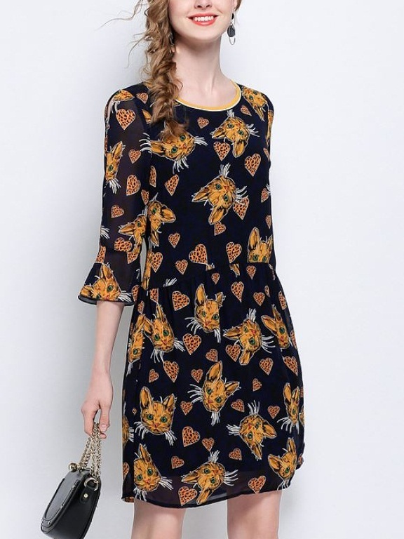 Korva Cats and Hearts Bell Sleeve Dress