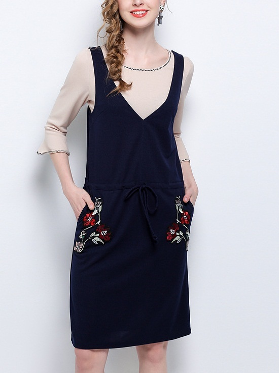Kostandea Bell Top + Floral Embroidery Drawstring Dress Set