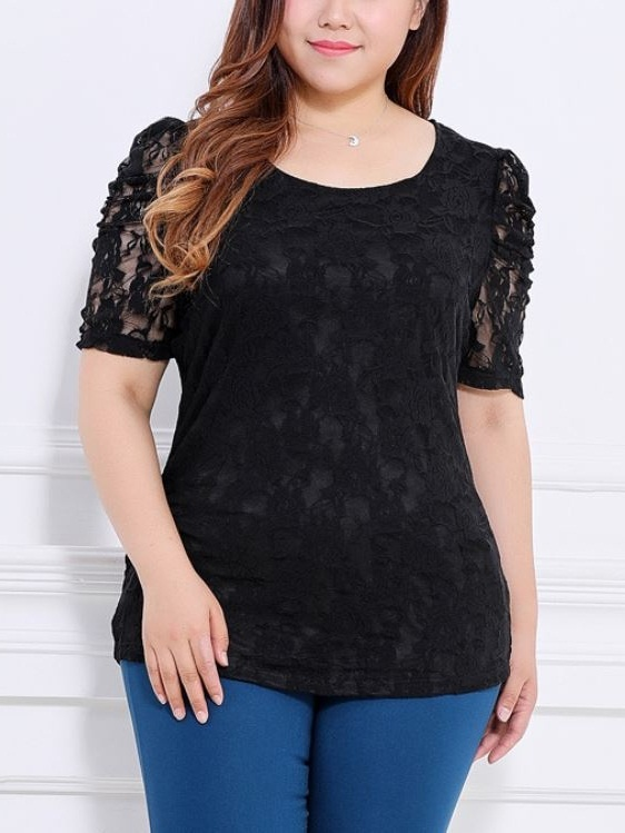 Kyriaki Puff Sleeve Lace S/s Top (EXTRA BIG SIZE)