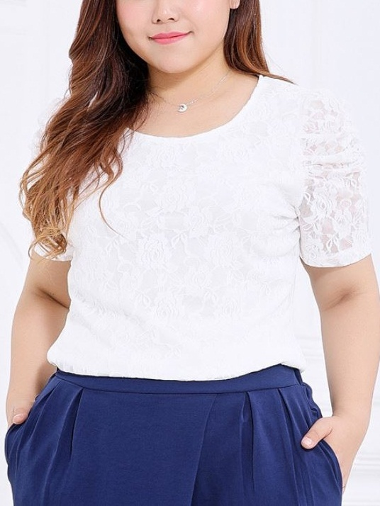 Kyriaki Puff Sleeve Lace S/s Top (EXTRA BIG SIZE) (2 Colours)