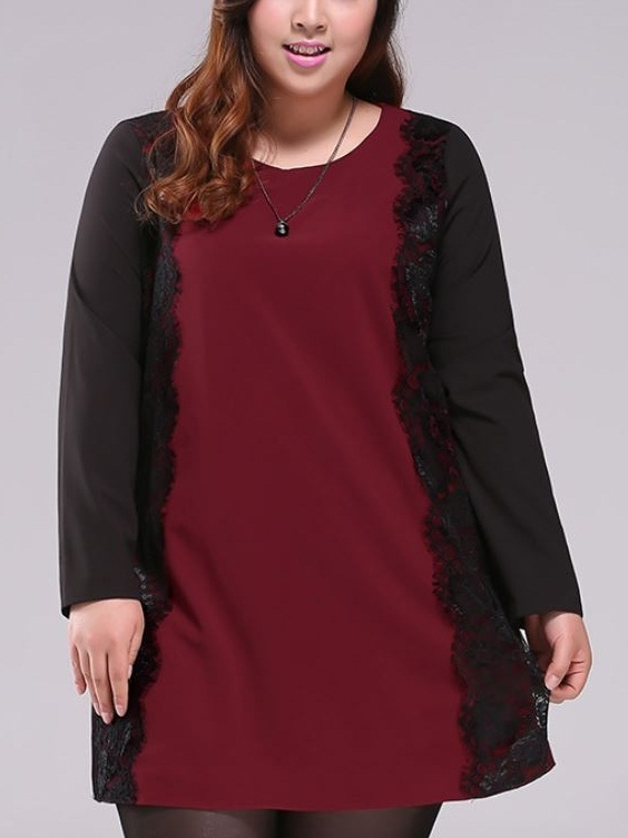 Kynthia Maroon Black Lace Panel Dress (EXTRA BIG SIZE)