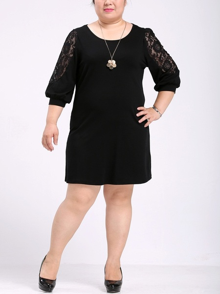 Kyniska Lace Sleeve Layer Dress (EXTRA BIG SIZE)