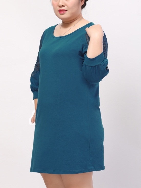 Kyniska Lace Sleeve Layer Dress (EXTRA BIG SIZE) (2 Colours)