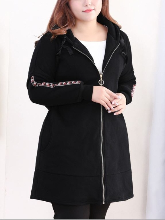 Kyndra Geometric Trim Long Jacket (EXTRA BIG SIZE)