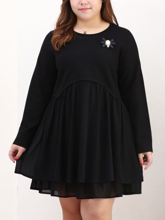 Kyna Brooch Black Dress (EXTRA BIG SIZE)
