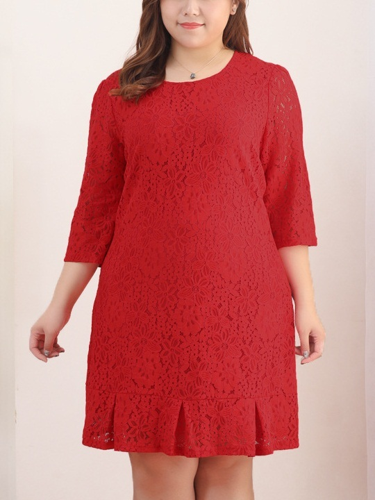 Kylise Red Lace Pleat Dress (EXTRA BIG SIZE)