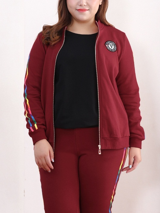 Kimora Rainbow Trim Tracksuit Jacket and Pants Set (EXTRA BIG SIZE)