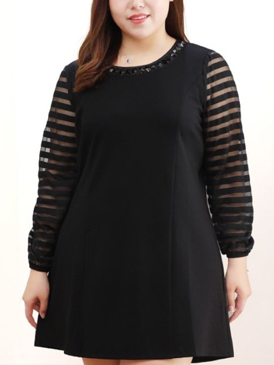 Kylia Embellished Neckline Stripe Sleeve Dress