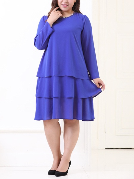 Kyleigh Embellished Tier L/s Dress (EXTRA BIG SIZE)