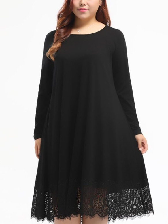 Kyah Lace Hem Midi L/s Dress (EXTRA BIG SIZE)