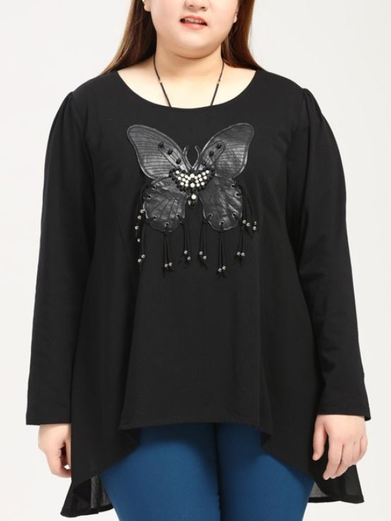 Ky-Asia Butterfly Applique L/s Top