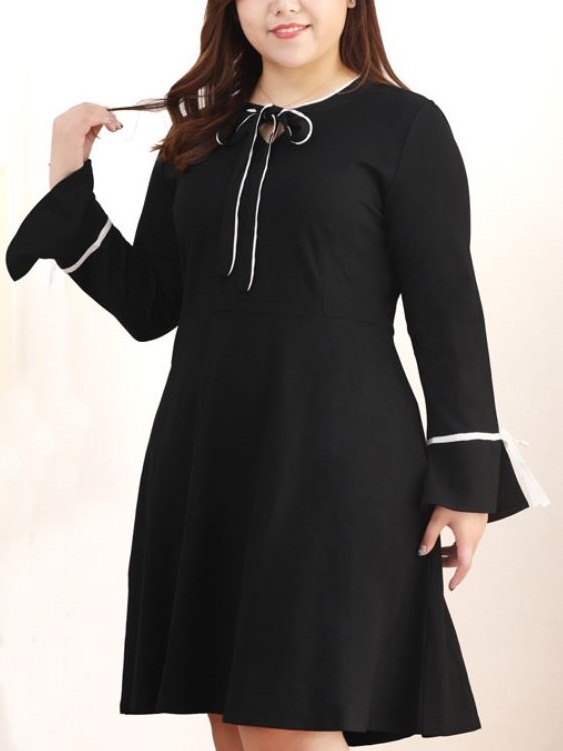 Kwanza Monochrome Ribbon Tie Dress (EXTRA BIG SIZE)