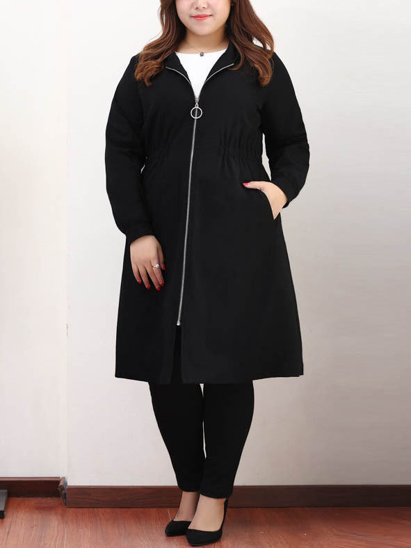 Kulwinder Hoody Round Zip Long Jacket(EXTRA BIG SIZE)